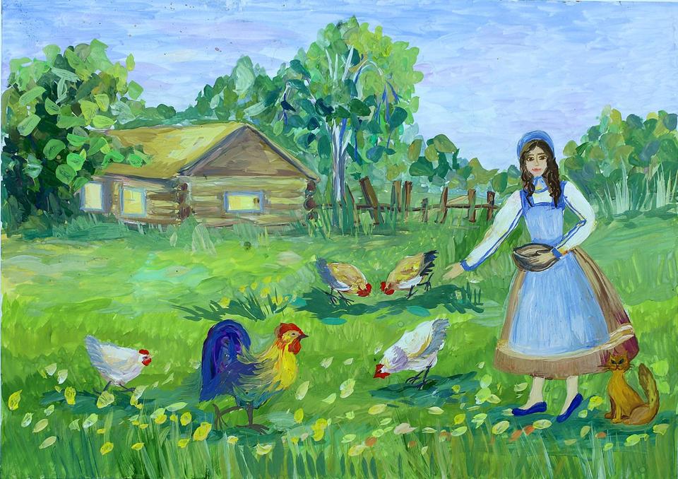 картинки лето в деревне карандашом обустройства