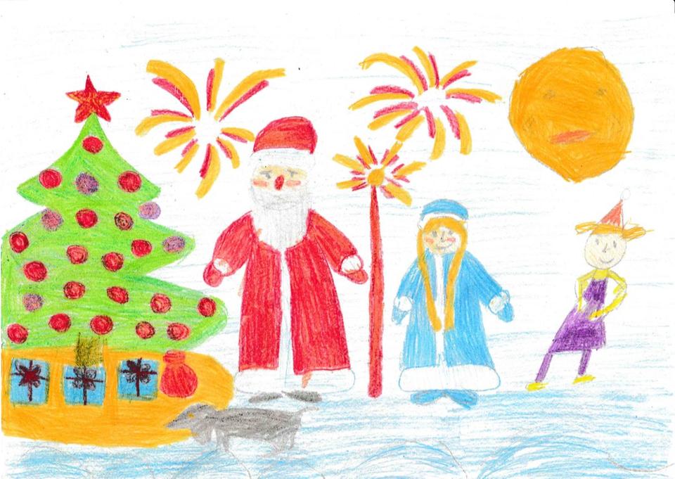 Рисунки с малышом на новый год