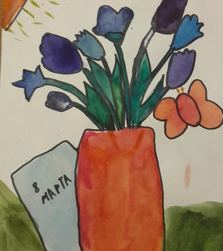 Детские рисунки открытка маме