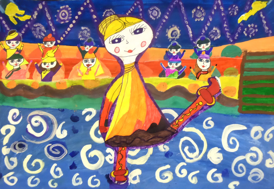 Фигуристка рисунок детский