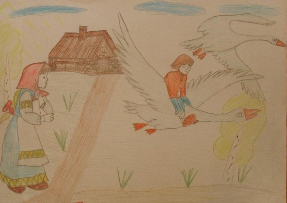 иллюстрации к сказке гуси лебеди карандашом деньги
