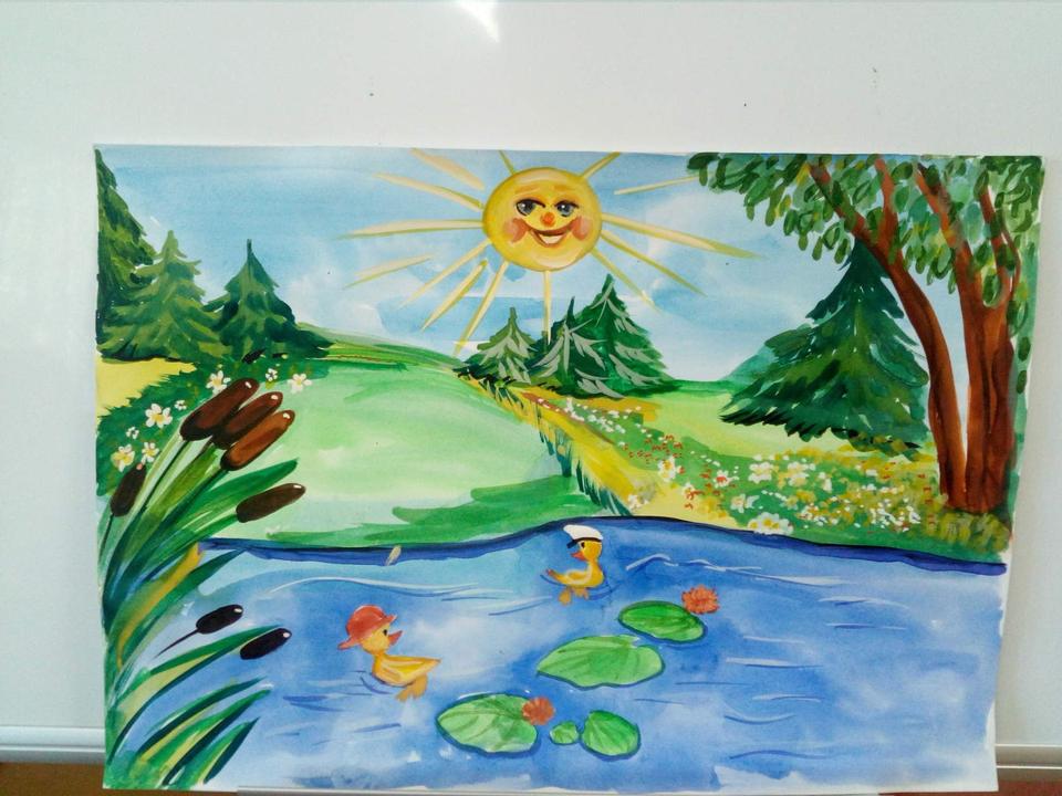 Картинка летние каникулы для детей красками