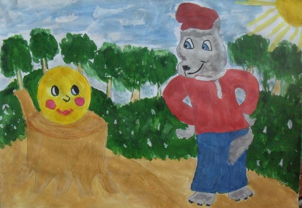 Колобок рисунок детский