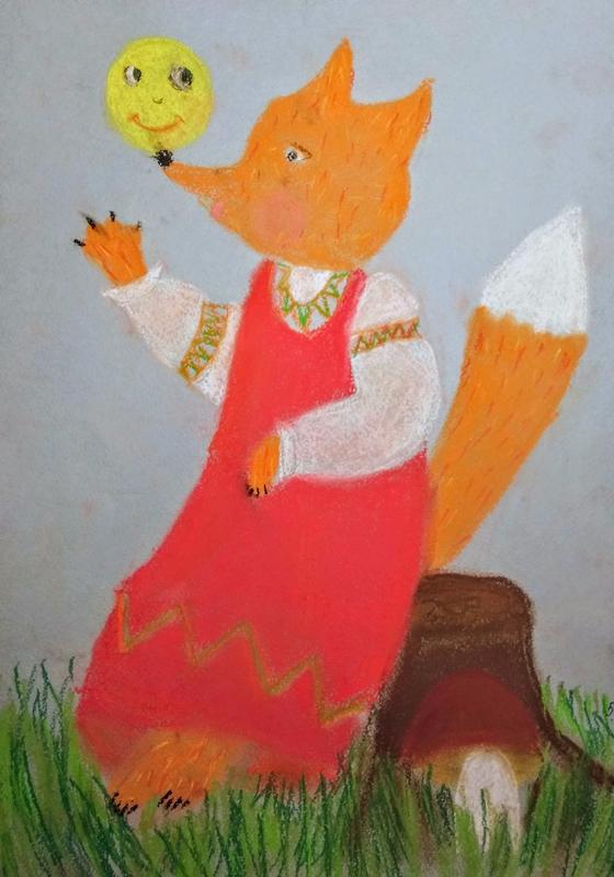 Рисунок из сказки колобок с лисой