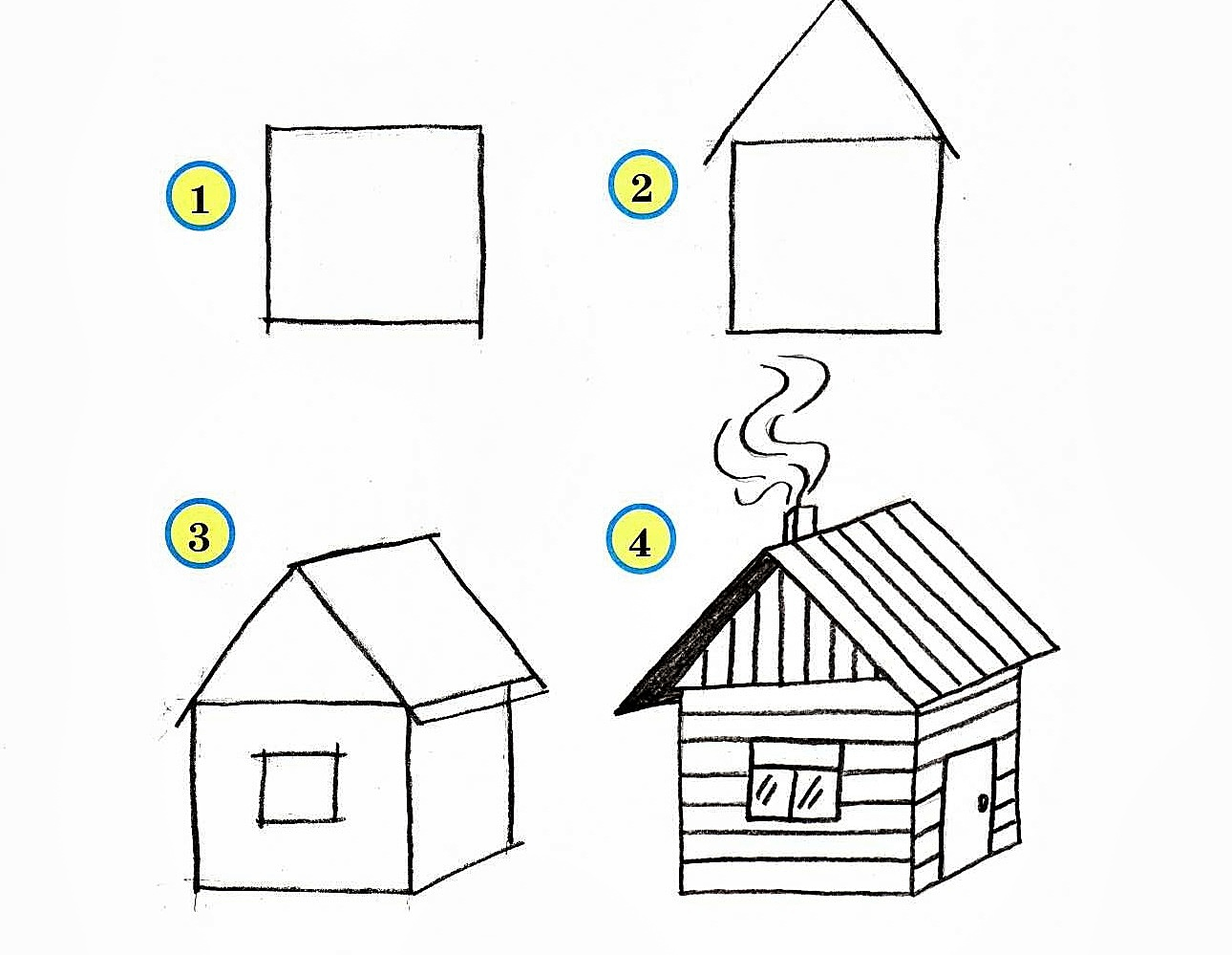 Рисуем домики поэтапно