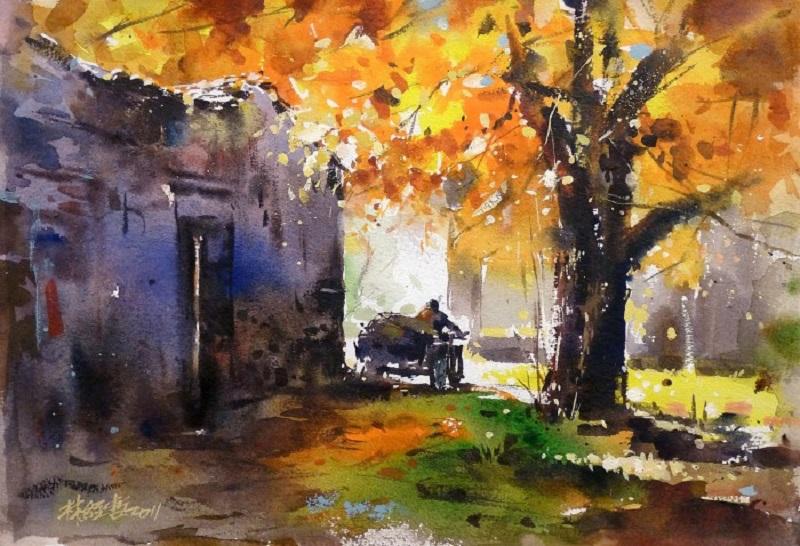 дождливая осень рисунок акварелью для них даже