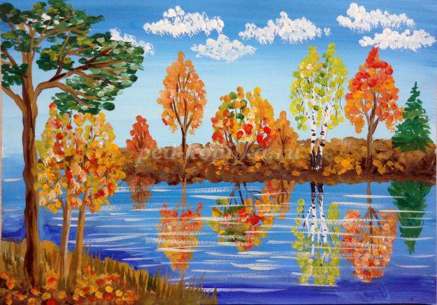 Осенний пейзаж гуашью поэтапно