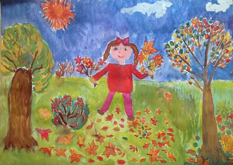 Детские рисунки про осень в детском саду